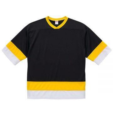 4.1ozドライホッケーTシャツ9872.ブラック/カナリアイエロー/ホワイト