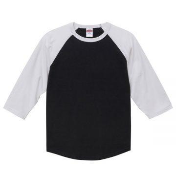 ラグラン3/4スリーブTシャツ2001.ブラック×ホワイト