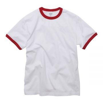 5.6オンスリンガーTシャツ1050.ホワイト×レッド