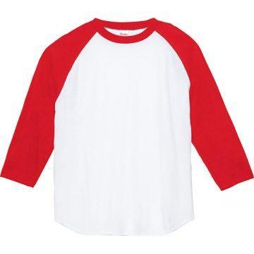 5.6オンスヘビーウエイトベースボールTシャツ710.ホワイト×レッド