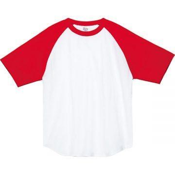5.6オンスヘビーウエイトラグランTシャツ710.ホワイト×レッド