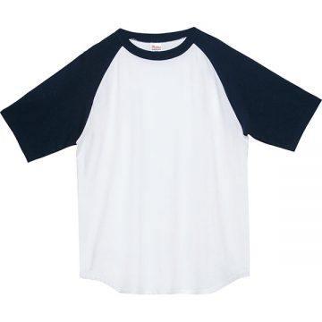 5.6オンスヘビーウエイトラグランTシャツ731.ホワイト×ネイビー