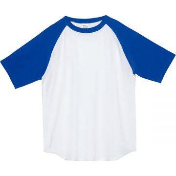 5.6オンスヘビーウエイトラグランTシャツ732.ホワイト×ロイヤルブルー
