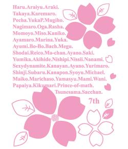 クラス全員の名前の周りに花びら