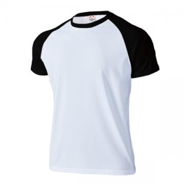 超軽量ドライラグランTシャツ64.ホワイト×ブラック
