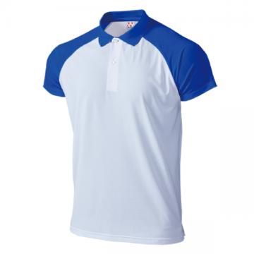 超軽量ドライラグランポロシャツ84.ホワイト×ロイヤルブルー
