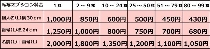 転写プリントオプション価格表