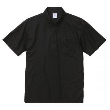 4.7オンススペシャルドライカノコポロシャツ(ボタンダウン)(ポケット付)002.ブラック